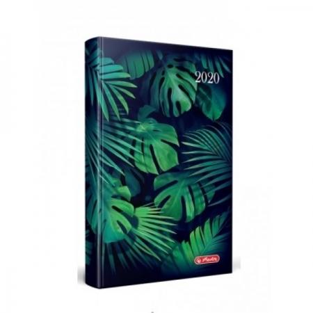 AGENDA DATATA RO A5, 352 PAGINI + 16 PAGINI ZENTANGLE, COPERTA BURETATA, MOTIV TROPICAL FOREST, 2020