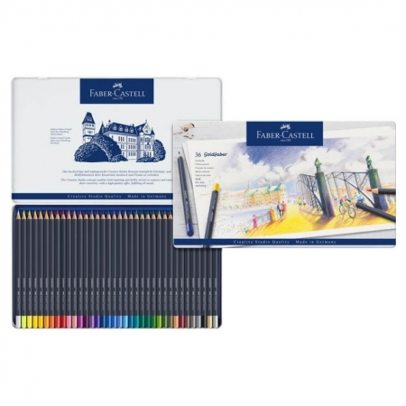 Creioane colorate 36 buc/set FABER-CASTELL Goldfaber, cutie metal