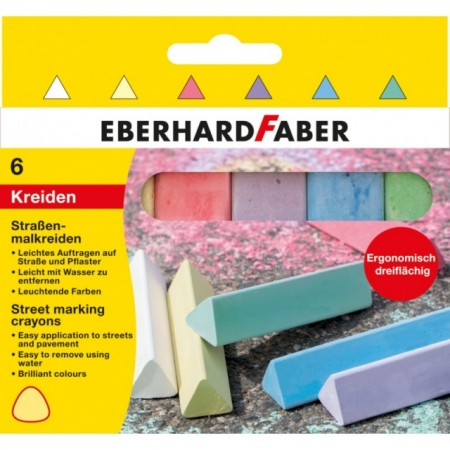 Creta 6 culori desen asfalt forma triunghiulara Eberhard Faber