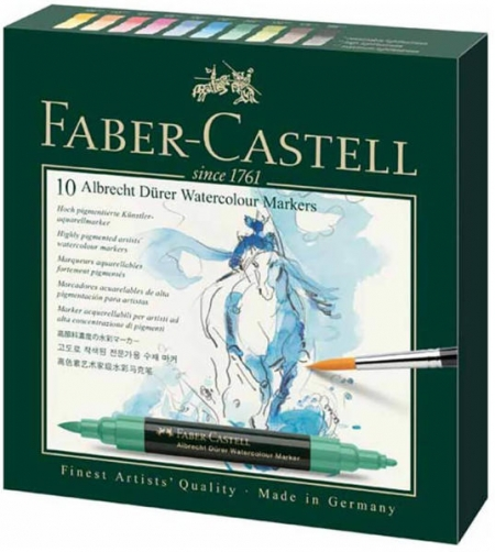 Markere 2 capete acuarela FABER-CASTELL Albrecht Durer Watercolour, 10 culori/cutie
