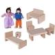 Set de joaca, Casuta si papusi din lemn